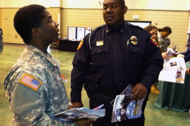 VICKSBURG, Miss.- Spc. Young and Soldiers of 412th Theater Engineer Command were out in full force to honor veterans of past and current wars, and to share their 'Soldier for Life' story with members of the Vicksburg community, during Veterans Day celebration here Nov. 12.