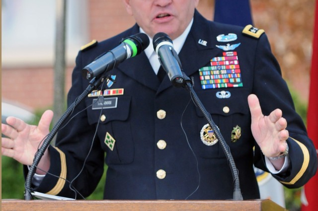 Gen. James D. Thurman, commander of United Nations Command, Combined Forces Command, and U.S. Forces Korea, gives remarks during the Veterans Day Ceremony held at U.S. Army Garrison Yongsan, Republic of Korea, Nov. 11, 2012.