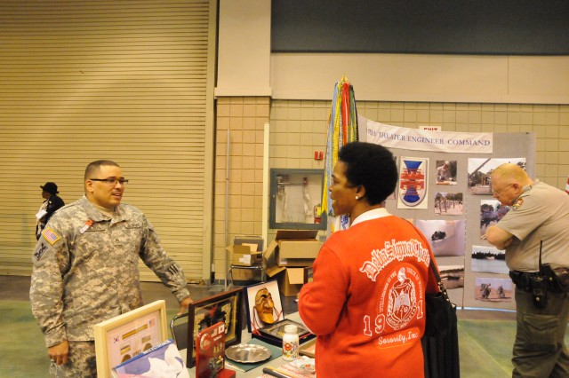 VICKSBURG, Miss.- Staff Sgt. Curtis Hamilton and Soldiers of 412th Theater Engineer Command were out in full force to share their 'Soldier for Life' story with members of the Vicksburg community, during Veterans Day celebration here Nov. 12.
