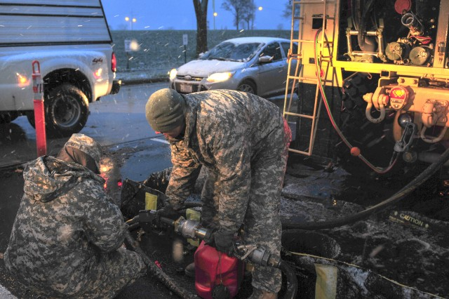 Soldiers in 710th Brigade Support Battalion, 3rd Brigade Combat Team, 10th Mountain Division (LI), provide gas for first-responder vehicles, Nov. 7, 2012, in response to Hurricane Sandy. They are currently operating out of Fort Hamilton, N.Y.