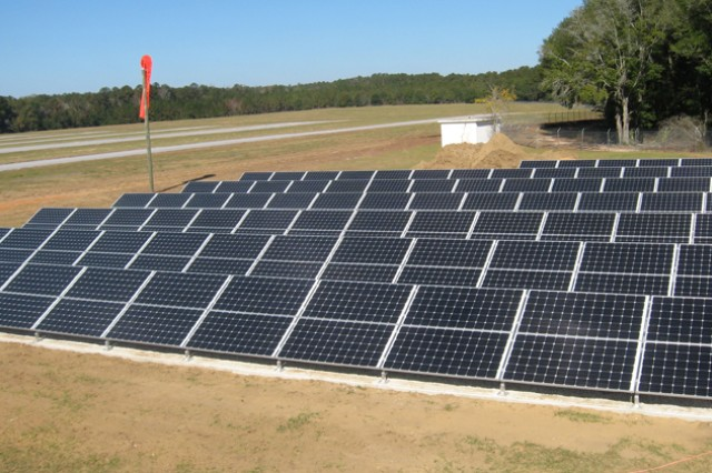 Solar panels installed at Hatch Stage Field on Fort Rucker, Ala., convert energy from the sun into usable electricity that can also be fed back onto Alabama Power's electrical grid. The facility will be Fort Rucker's first Net Zero facility, which means it produces more electricity than it consumes.
