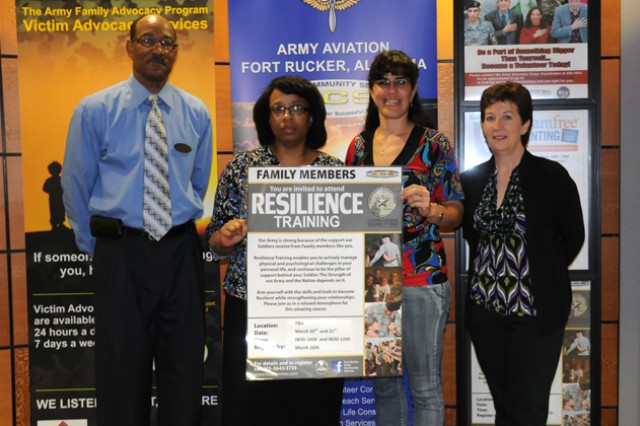 The Family Member Resilience Training program is taught by William Allen, Luticia Trimble-Smith, Ruth Gonzalez and Karen Hayes of Army Community Service. The resilience training will be Nov. 19-20 from 8:30 a.m. to 2:30 p.m. at The Commons.