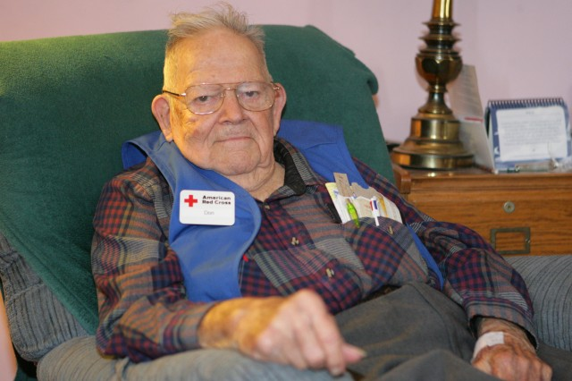 Don Ginter, age 91, sits at his home in Lawton following his shift as a volunteer with the Red Cross at Reynolds Army Community Hospital. Ginter enlisted at Fort Sill and served as a switchboard operator and later, a field lineman in a unit supporting the 82nd Airborne Division during the Battle of Bastogne, Belgium. Ginter retired from the Army in 1963.