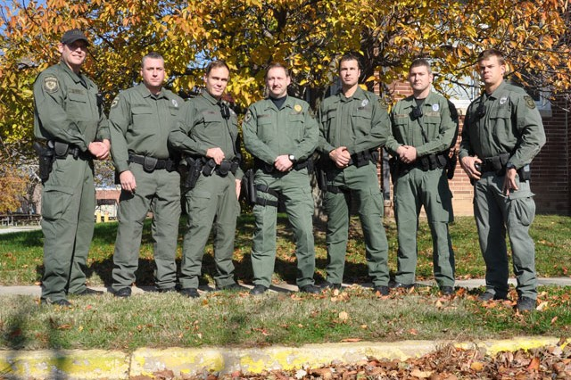 From left, DES Special Reaction Team members Jason Schaffer, Eric Ouimette, Andrew Funke, SRT Commander Lt. Joel Holdford, Brian Zorn, Timothy Patton and Scott Walters won third place in the Sniper-Initiated Pursuit event of the 2012 National Capital Region SWAT Association competition at the Montgomery County Police Outdoor Firing Range Nov. 2.