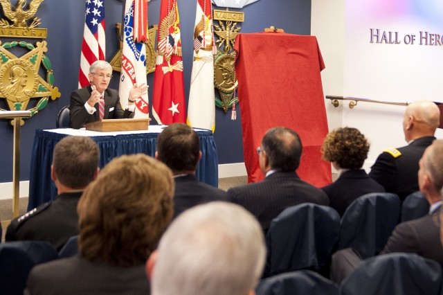 Secretary of the Army John McHugh tells the audience that we recognize that our Soldiers are the strength of our Army; and Gen. Dempsey has long recognized that our leaders are an incredible source of that strength, during the portrait unveiling ceremony at the Pentagon Oct. 20, 2012, for the 37th Chief of Staff of the Army, Gen. Martin E. Dempsey, Chairman of the Joints Chief of Staff.(U.S. Army Photo by Spc. John G. Martinez)