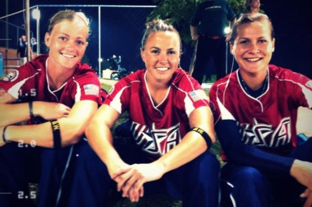 2012 All-Forces women's Softball teammates, Army Sgt. Ashley Walker, Capt. Lindsey Gerheim, and 1st Lt. Alyson McWherter, enjoy a moment together during the National Championships in September, 2012 in Oklahoma City. The All-Forces Team consists of the best players from all branches of the armed forces and was selected from the 2012 Armed Forces Softball Championship Tournament. The Soldiers wore Sgt. Brian Walker's initials embroidered on armbands as a way to remember and honor him after he was killed in action in Afghanistan May 13. (Courtesy photo)