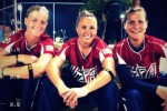 2012 All-Forces women's Softball teammates, Army Sgt. Ashley Walker, Capt. Lindsey Gerheim, and 1st Lt. Alyson McWherter