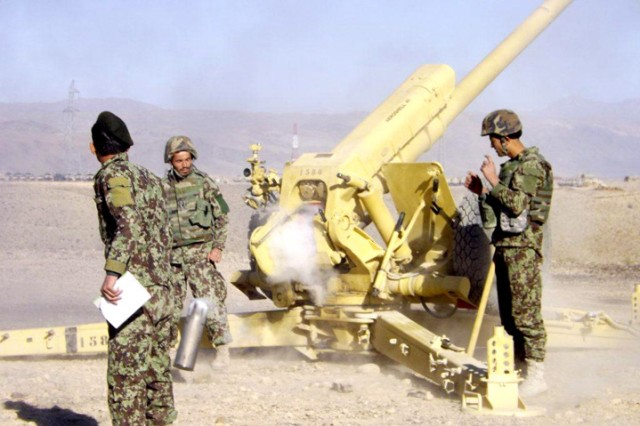 """KAPISA PROVINCE, Afghanistan """" Afghan National Army soldiers fire artillery during an independently-ran live-fire exercise at Forward Operating Base Naghlu High Nov. 19, 2012. The ANA also conducted a counter-improvised explosive device training lane immediately after the live-fire. Every day, the Afghan National Security Forces' capabilities are increasing, conducting independent operations with little-to-no international involvement.  For this exercise, French and U.S. forces provided additional security.  (U.S. Army photo by Capt. John Ignat, 2-7 Cav., 4th BCT, 1st Cav. Div. UPAR)"""