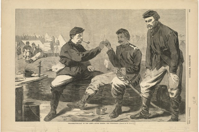 This 1864 image depicts Soldiers breaking the wish bone the day after Thanksgiving in an illustration by Winslow Homer.  Image was originally published in Harper's Weekly, December 1864, and is now part of the Winslow Homer Collection at the Boston Public Library.