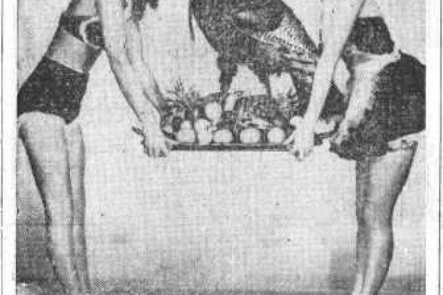 """His Royal Highness,"" the turkey, is one of the most interesting historical images of the holiday in the CECOM archive. From The Monmouth Message newspaper, 1952."