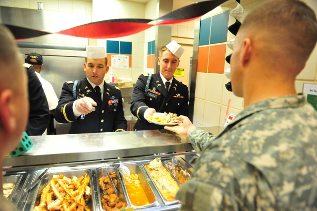Soldiers from the 4th Brigade Combat Team, 101st Airborne Division, were treated to a special meal in honor of Thanksgiving on November 20, 2012 at Fort Campbell, Ky. The officers and non-commissioned officers of the brigade served turkey, ham, crab legs, yams and other Thanksgiving trimmings in keeping with tradition of unit leaders serving a holiday meal to their subordinates.
