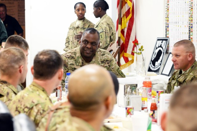 Gen. Lloyd J. Austin III, vice chief of staff of the Army, meets with Soldiers from Combined Joint Task Force-1 over breakfast to discuss the professionalism of the Army as an institution, at Bagram Airfield, Afghanistan, Nov. 21, 2012.