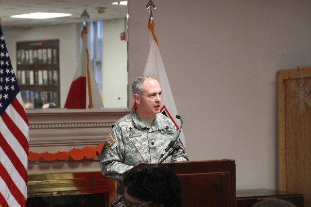 Chaplain (Lt. Col.) Harry Huey, First Army Division East, speaks to members of First Army Division East during a prayer breakfast held at Fort George. G. Meade November 20, 2012. (Photo by U.S. Army Staff Sgt. Stephen Crofoot)