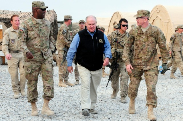 Undersecretary Army Joseph W. Westphal (center) chats with Command Sgt. Maj. Edd Watson (Left), Regional Command (South) and Third Infantry Division command sergeant major, during a Thanksgiving visit at Combat Outpost Siah Choy, Afghanistan, Nov. 22, 2012.  Westphal visited the base and several others with the Vice Chief of Staff of the Army to show Soldiers their appreciation.