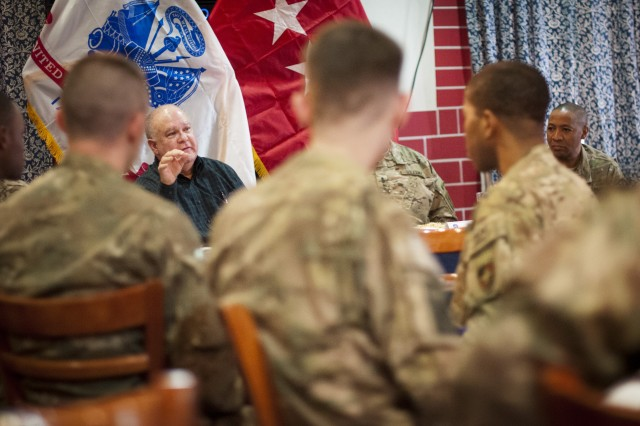 Under Secretary of the Army Joseph W. Westphal talks with Soldiers over lunch about the future of the Army at the International Security Assistance Force's headquarters, Nov. 20, 2012, Kabul, Afghanistan.  The purpose of of the visit by Westphal and Vice Chief of Staff of the Army Gen. Lloyd J. Austin III was to meet with deployed troops in Afghanistan during the Thanksgiving holiday period to underscore senior Army leader support for the service and sacrifice of Soldiers and civilian employees.