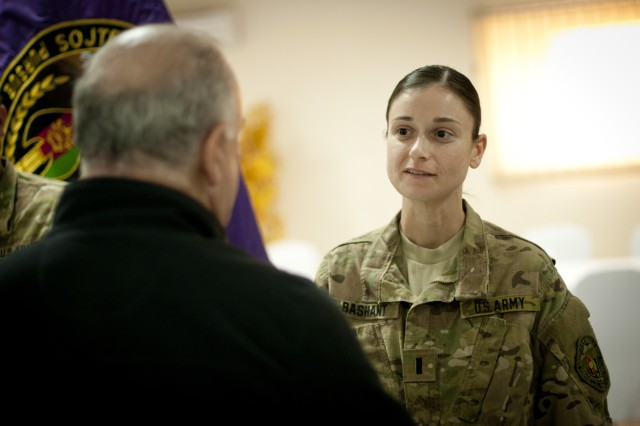 Under Secretary of the Army Joseph W. Westphal personally thanks 1st Lt. Bashant for all her accomplishments during her deployment at Camp Integrity, Nov. 20, 2012, Kabul, Afghanistan.  The purpose of of the visit by Westphal and Vice Chief of Staff of the Army Gen. Lloyd J. Austin III was to meet with deployed troops in Afghanistan during the Thanksgiving holiday period to underscore senior Army leader support for the service and sacrifice of Soldiers and civilian employees.