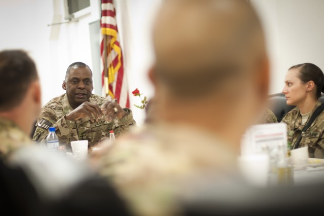 Vice Chief of Staff of the Army Gen. Lloyd Austin meets with Soldiers from Combined Joint Task Force-1 over breakfast to discuss the professionalism of the Army as an institution, Nov. 21, 2012, Bagram Airfield, Afghanistan.  The purpose of the visit by Under Secretary of the Army Joseph Westphal and Austin was to meet with deployed troops in Afghanistan during the Thanksgiving holiday period to underscore senior Army leader support for the service and sacrifice of Soldiers and civilian employees.