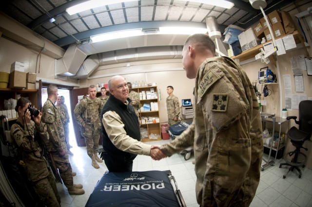 Under Secretary of the Army Joseph W. Westphal personally thanks a Soldier who works with the 704th Brigade Support Battalion, Forward Surgical Team at Jalalabad Airfield, Nov. 21, 2012, Jalalabad, Afghanistan.  The purpose of of the visit by Westphal and Vice Chief of Staff of the Army Gen. Lloyd J. Austin III was to meet with deployed troops in Afghanistan during the Thanksgiving holiday period to underscore senior Army leader support for the service and sacrifice of Soldiers and civilian employees.