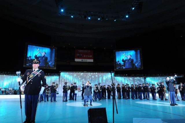 Soldier Musicians from the U.S. Army Pacific Band perform at the famed Nippon Budokan concert hall in Tokyo on November 17. Members from 9th Army Band in Alaska, 8th Army Band in Korea and the 25th Infantry Division Band in Hawaii joined the U.S. Army Japan Band to form a 67-member marching band, dubbed the U.S. Army Pacific Band.