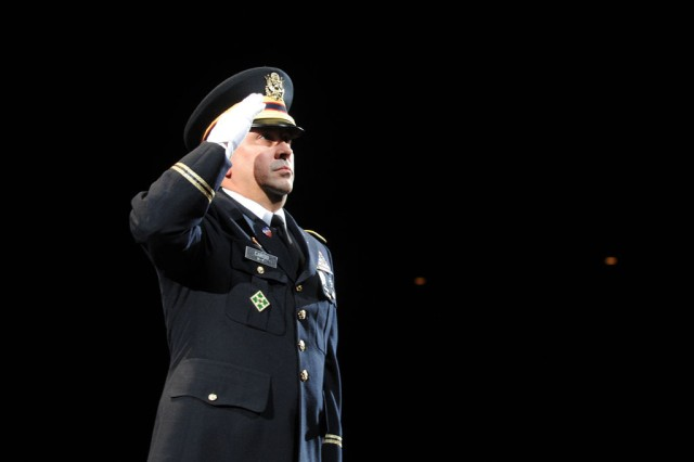 Chief Warrant Officer Marvin Cardo salutes the audience during the Japan Ground Self Defense Force Marching Band Festival at the famed Nippon Budokan concert hall in Tokyo on November 17.