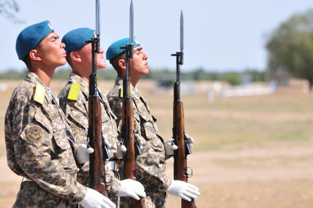 Members of the Kazakhstan military stand at attention during the closing ceremony of Steppe Eagle 2012 at Camp Illisky, Kazakhstan, Sept. 20, 2012. Steppe Eagle, which brought together more than 1,000 service members from seven different countries, is an exercise focused on giving nations an opportunity to work together.