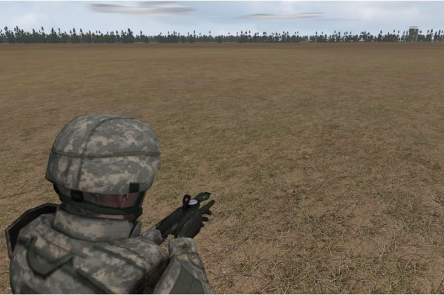 This screenshot demonstrate how Virtual Battlespace 2's land navigation application help train Army ROTC students, Soldiers and others. VBS2 is the Army's flagship gaming program.