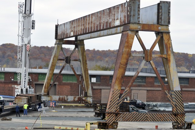 A lot of preparation and planning went into the removal of the Arsenal's gantry crane.  A local Watervliet company, Metro Metal Recycling, won the contract to remove the crane, which required the support of two local rigging companies, D.A. Collins Construction Co. and John M. Mullins Rigging & Hauling.