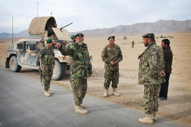 Afghan National Army leadership from 4th Brigade conducts a battlefield circulation to check on soldiers in the field during Operation Kalak Hode VI in Uruzgan province, Nov. 17, 2012.