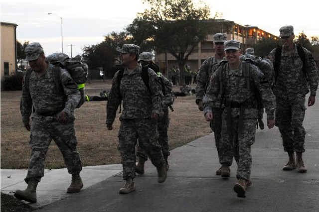 FORT HOOD, Texas -- Soldiers assigned to the 1-7 Cav, 1st BCT, 1st Cav. Div, begin their 7.1 mile ruck competition to commemorate and honor the veterans of the 1965 Vietnam War's Battle of Ia Drang Valley, here, Nov. 16.