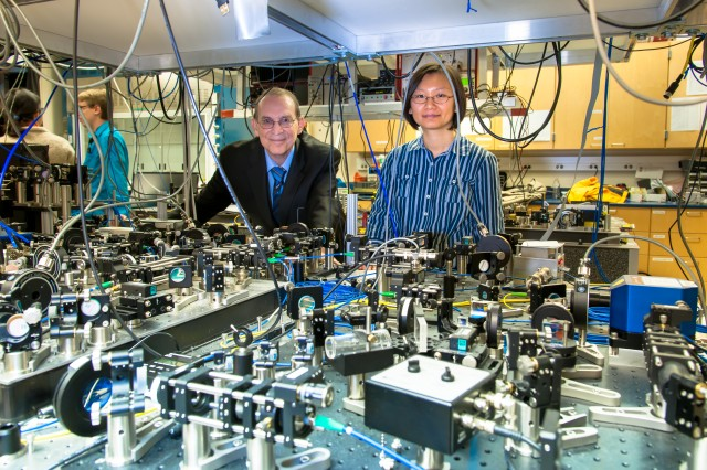 U.S. Army Research Laboratory scientists Patricia J. Lee and Ronald E. Meyers pose with gear designed to manipulate photons.