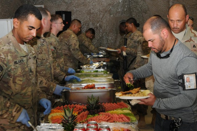 Following the National Hispanic American Heritage month ceremony, a wide assortment of fresh fruit and vegetables along with some native Hispanic food was prepared for guests to sample, Oct. 12, 2012, at Kandahar Airfield, Afghanistan. The colorful arrangement of fruit and the dynamic mixture of Hispanic food to support this celebration were enjoyed by all who participated in the festivities.