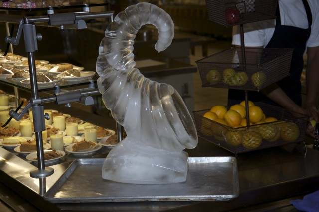 Culinary experts from 1st Brigade Combat Team showed off their skills with a cornucopia ice sculpture at the Commanding General's Best Decorated Dining Facility Competition on Nov. 20.