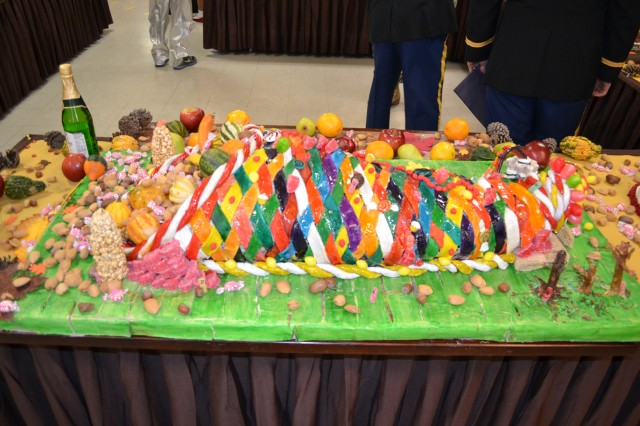 A candy cornucopia was one of the culinary displays at the 2nd Brigade Combat Team Dining Facility.