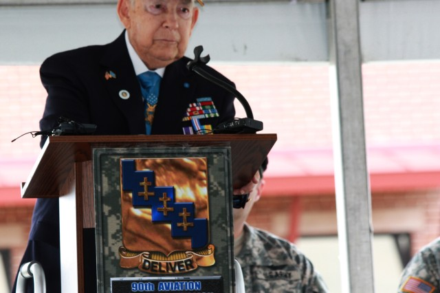 Medal of Honor recipient retired Col. James Lamar Stone addressing Soldiers of the 90th Aviation Support Battalion during a building dedication in his honor, Fort Worth, Texas, Nov. 6 2011. Command Sgt. Maj. Jeffery Darlington, the battalion senior enlisted leader at the time initiated the process to name the building after the Korean war hero.