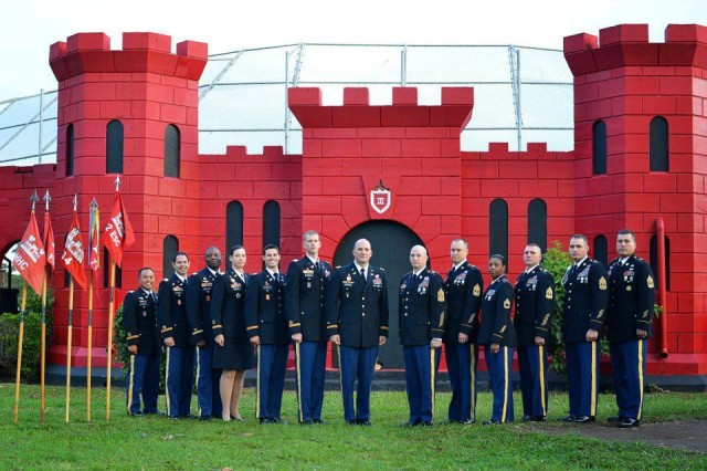 Command Teams, 65th Engineer Battalion, 130th Engineer Brigade, 8th Theater Sustainment Command, pose for a picture behind the prestigious Engineer Castle on Schofield Barracks, Feb. 29.