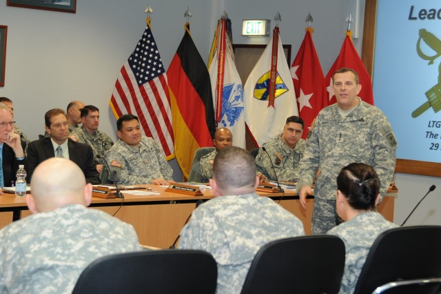 Lt. Gen. Peter M. Vangjel, The Inspector General of the U.S. Army, speaks to attendees at the 21st Theater Sustainment Command's Board of Directors meeting on Panzer Kaserne, Nov. 29. Vangjel's visit to the 21st TSC was part of  tour of U.S. Army Europe installations in which the Army's 64th IG provided Department of the Army level insight on various topics.