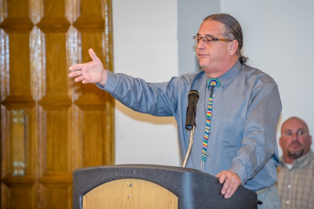 Assistant Principal Chief Scott BigHorse of the Osage Tribe from Oklahoma speaks during the 2012 Native American Indian Heritage Month observance and luncheon Nov. 29 at the Pershing Community Center. BigHorse entered state politics to ensure that families of Osage County have the tools to succeed, including job training and affordable healthcare.