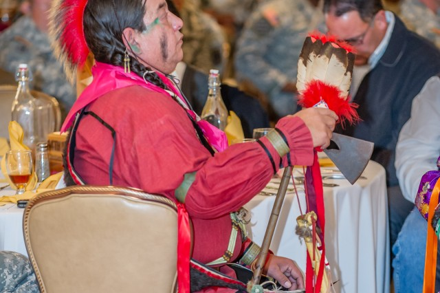 Members of the Osage Tribe from Oklahoma provide a song and dance performance during Fort Leonard Wood's Native American Indian Heritage Month celebration Nov. 29 at the Pershing Community Center. The presentation demonstrates the deeply rooted history and culture of Native American Indians.