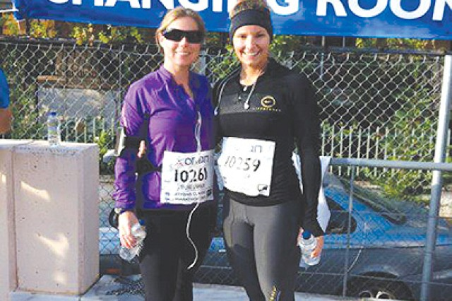 (Left) Shannon Sterling and Crystal Absher compete in the Athens Marathon.