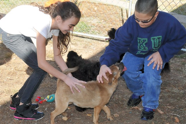 Nydia Bolmer, sixth-grader, Fort Riley Middle School, left, and Fernando Rivera, seventh-grader, FRMS, right, play with a dog Nov. 21 at the Fort Riley Stay Facility, Fort Riley, Kan.