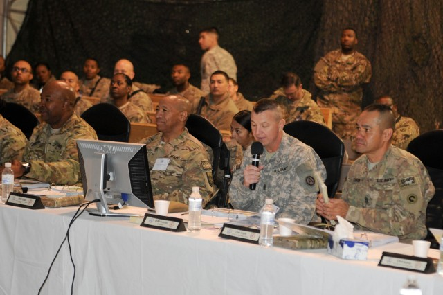 Command Sgt. Maj. Stephan Frennier, the Third Army/U.S. Army Central Command senior enlisted leader, briefs attendees of the Joint Logistics Senior Enlisted Conference, sponsored by the 3d Sustainment Command (Expeditionary) and Joint Sustainment Command - Afghanistan at Kandahar Airfield, Afghanistan on November 23, 2012. During the conference, Command Sgt. Maj. Karl A. Roberts, the 3d ESC and JSC-A's senior enlisted leader, hosted senior enlisted leaders from the International Security Assistance Force, U.S. Army Central Command/Third Army, 1st Theater Sustainment Command, the JSC-A's subordinate units and resident units of Kandahar Airfield. Roberts said that with the conference, he wanted to bring together the key leaders and personnel responsible for retrograde operations as the drawdown of Troops continue toward the 2014 deadline. (U.S. Army photos by Staff Sgt. Michael Behlin)