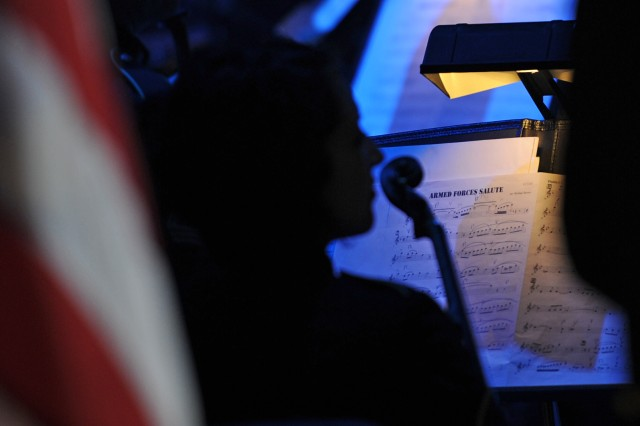 """A """"Pershing's Own"""" musician prepares to play the Armed Forces Salute at the annual American Holiday Festival held at DAR Constitution Hall in Washington, D.C., Nov. 30 - Dec. 2."""