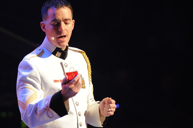 """Staff Sgt. Jason Gottshall performs """"I'll Wait 'Til You're Home to Have Christmas"""" at the annual U.S. Army Band """"Pershing's Own"""" American Holiday Festival, Dec. 2 at DAR Constitution Hall in Washington, D.C."""