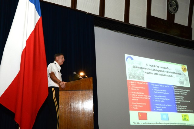 Maj. Gen. Frederick S. Rudesheim, the U.S. Army South commanding general, speaks to more than 150 students and faculty of the Academia de Guerra del Ejercito (Chilean Army War College) during a visit to Santiago, Chile, Nov. 6.
