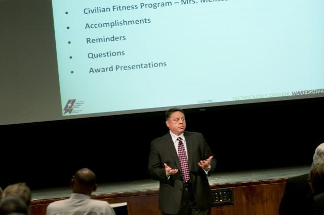 Dr. Gerardo Melendez addresses the ARDEC workforce after the challenges of Hurricane Sandy.