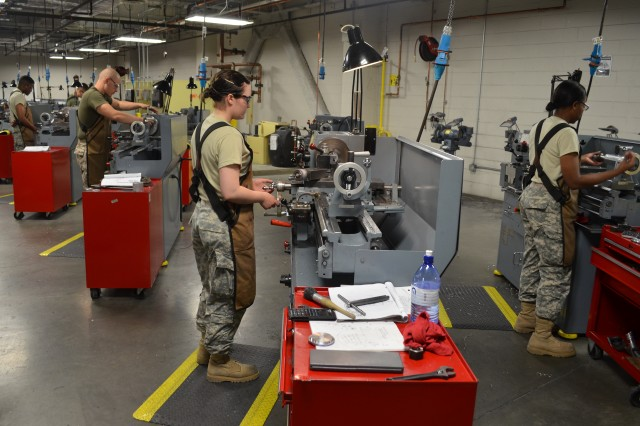 Students attending the Allied Trades Specialist (91E) course at the U.S. Army Ordnance School learn to machine parts on manual lathes as part of their training. The course work they complete can be used towards obtaining National Institute of Metal-working Skills credentials, which is recognized nationwide as the standard used in the manufacturing industry.