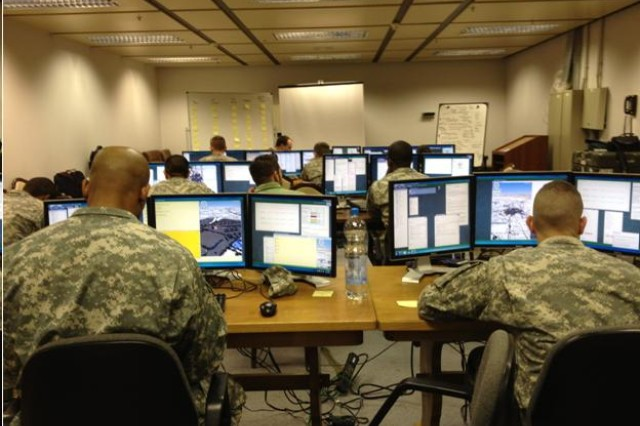 Command Post of the Future (CPOF) is used by the Army in all theaters, combining feeds from different mission command systems to provide a broad spectrum of information that commanders and staff members.