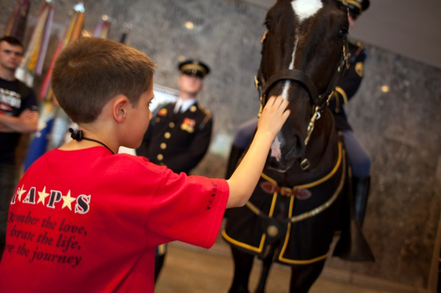 A child pets Klinger, Caisson horse, 3d U.S. Infantry regiment (The Old Guard), during the Tragedy Assistance Program for Survivors (TAPS) National Good Grief Camp in 2010. TAPS donates a fictional children's book and a stuffed animal modeled after Klinger to young children who have lost loved ones in the military.  (Courtesy photo by Allie L. Brown)