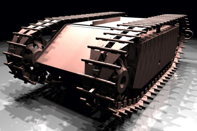 """A German Goliath tracked mine from the Aberdeen Proving Ground Ordnance Museum modeled and rendered in BRL-CAD by Stephanie """"Rain"""" Weaver and Stephen Kennedy, U.S. Army Research Laboratory summer students in 2009."""