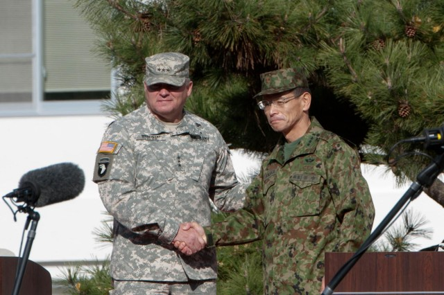 U.S. Army Pacific Commander Lt. Gen. Francis Wiercinski and Northeastern Army Commander Lt. Gen. Toshiaki Tanaka opened the Yama Sakura 63 ceremony with warm words of encouragement for all participants expressing their expectation that the bilateral exercise will be mutually beneficial and reinforce friendships.